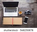 vintage hipster wooden desktop... | Shutterstock . vector #568250878