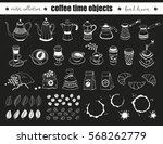 hand drawn coffee time objects...   Shutterstock .eps vector #568262779