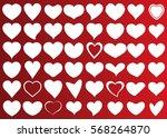 red white heart vector icon... | Shutterstock .eps vector #568264870