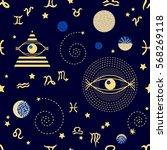 zodiac sky. abstract seamless... | Shutterstock .eps vector #568269118