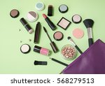 a purple make up bag with... | Shutterstock . vector #568279513
