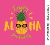 cute pineapple cartoon... | Shutterstock .eps vector #568282678