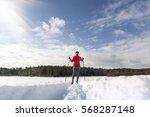 cross country skiing woman... | Shutterstock . vector #568287148