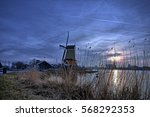 typical dutch landscape at de... | Shutterstock . vector #568292353