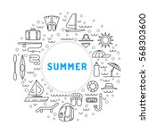 icons set for summer holiday... | Shutterstock .eps vector #568303600