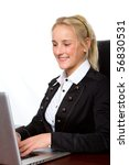a businesswoman working on a computer - stock photo