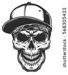 illustration of the skull in... | Shutterstock .eps vector #568305433