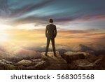 rear view of asian businessman... | Shutterstock . vector #568305568