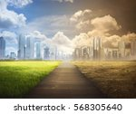 landscape of timber pathway... | Shutterstock . vector #568305640