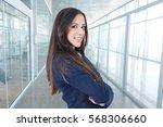 modern business woman's profile ... | Shutterstock . vector #568306660