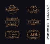 calligraphic luxury line logo... | Shutterstock .eps vector #568308574
