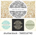 round gold calligraphic royal... | Shutterstock .eps vector #568316740