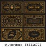 vintage set retro cards.... | Shutterstock .eps vector #568316773
