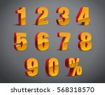 3d red yellow golden metallic... | Shutterstock .eps vector #568318570