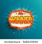 the winner retro banner with... | Shutterstock .eps vector #568319044