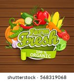 farm fresh vegetables label.... | Shutterstock .eps vector #568319068