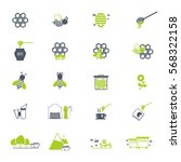 bee and honey icon set | Shutterstock .eps vector #568322158