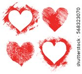 set of hand paint vector hearts ... | Shutterstock .eps vector #568323070