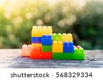 plastic building blocks on... | Shutterstock . vector #568329334