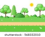 lush green nature cartoon... | Shutterstock .eps vector #568332010