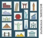 set of monuments stamps vector... | Shutterstock .eps vector #568332148