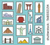 set of monuments stamps vector... | Shutterstock .eps vector #568332154