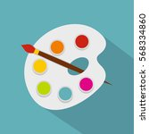 palette paint brush icon. flat... | Shutterstock .eps vector #568334860