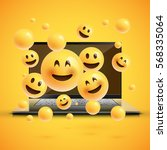 realistic yellow emoticons in... | Shutterstock .eps vector #568335064