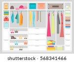 cartoon fashion wardrobe woman... | Shutterstock .eps vector #568341466