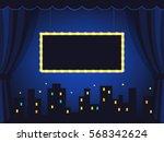 vintage stage with dark blue... | Shutterstock .eps vector #568342624