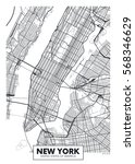 vector poster map city new york | Shutterstock .eps vector #568346629