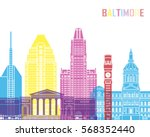 baltimore v2 skyline pop in... | Shutterstock .eps vector #568352440