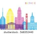 baltimore v2 skyline pop in... | Shutterstock .eps vector #568352440