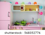 pink baby retro kitchen in... | Shutterstock . vector #568352776