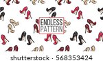 hand drawn graphic red heels ... | Shutterstock .eps vector #568353424