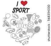 sports equipment  balls ... | Shutterstock .eps vector #568354330