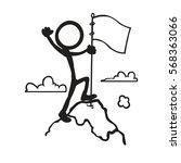 stickfigure goal mountain peak | Shutterstock .eps vector #568363066