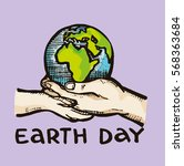 save earth or go green earth... | Shutterstock .eps vector #568363684