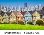 classic postcard view of famous ... | Shutterstock . vector #568363738