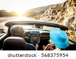 couple of lovers driving on a... | Shutterstock . vector #568375954