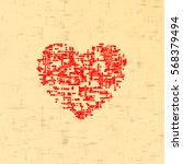 Red Heart Canvas Texture....