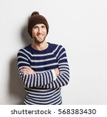 handsome laughing young man... | Shutterstock . vector #568383430