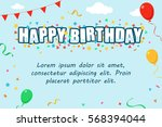 template of happy birthday... | Shutterstock .eps vector #568394044