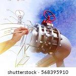 man's hand draws a design of... | Shutterstock . vector #568395910
