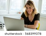 smiling woman | Shutterstock . vector #568399378