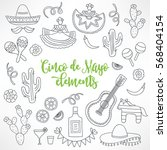 collection of hand drawn cinco... | Shutterstock .eps vector #568404154