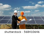 engineer checking the solar... | Shutterstock . vector #568410646