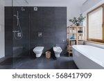 glass floor shower in modern...   Shutterstock . vector #568417909