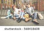 group of happy multiracial best ... | Shutterstock . vector #568418608