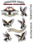 vector american eagle set... | Shutterstock .eps vector #568420744